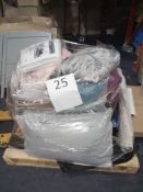 Pallet To Contain Assorted Soft Furnishings Including Cushions, A Rug And Footwear