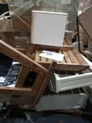 Pallet To Contain Various Assorted Furniture To Include A Garden Bench, A Tv Stand With Wicker Baske