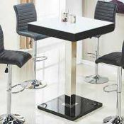 RRP £180. Boxed Topaz Bar Table In Super White Glass And Black