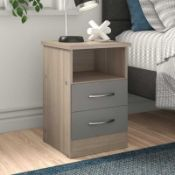 RRP £100. Boxed 2 Drawer Chest In White And Grey.