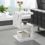 RRP £120. Boxed Stone Effect S Shape Sofa Side Table