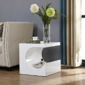 RRP £120. Boxed High Gloss C Figure Sofa Side Table In Grey
