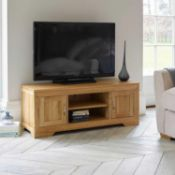 RRP £250. Boxed Oak Tv Stand With Middle Shelf And 2 Cupboards For Storage.