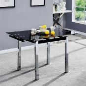RRP £230 Boxed Paris Extending Black Glass Dining Table With Chrome Legs