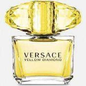RRP £55 Each Brand New Boxed Full 90Ml Tester Bottles Of Versace Yellow Diamonds And Crystal Noir Ed