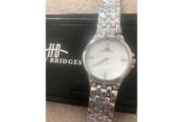 RRP £385 Ladies Henry Bridges Harrington Steel White Watch With Alloy Strap