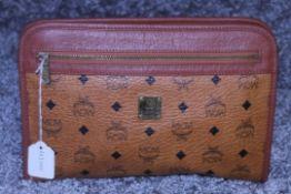 RRP £300 Mcm Calf Leather Cognac Monogramme Gold Vachetta Vintage Clutch Handbag. Production Code