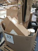 Pallet To Contain Assorted House Hold Items Including Light Fittings, A Clock, Chopping Board, Photo