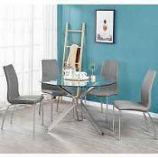 RRP £200. Boxed Toulouse Dining Chairs In White And Chrome - Set Of 2