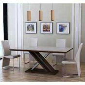 RRP £450. Cuba Dining Table With Tempered Clear Glass Top