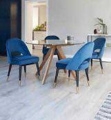 RRP £350. Boxed Danetti Sapphire Clover Velvet Dining Chairs - Set Of 2