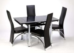RRP £260. Boxed Paris Extending Dining Table Black Glass Top