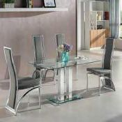 RRP £180. Boxed Jet Clear Glass Bar Table