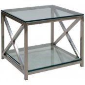 RRP £140. Boxed Neptune Lamp Table Glass Legs And Black Tempered Glass Top