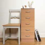 RRP £80. Boxed Chest Of 5 Drawers - Beech