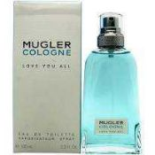 RRP £55 Boxed Unused Ex-Display Tester Bottle Of Thierry Mugler Cologne Love You All 100Ml Edt