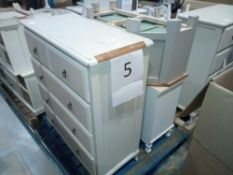 Assorted Furniture In White/Cream. 5 Drawer Chest, Tv Stand, 3 Drawer Chest And 2 Drawer Bedside Tab