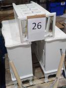 2 White Side Units (2 Door, 2 Drawer). White Wood & Mirrored Glass 5 Drawer Slim Chest
