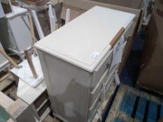Cream 5 Drawer Chest, Cream 5 Drawer Tv Unit. 2 White Chairs, 1 White Stool