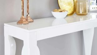 RRP £250. Boxed Asti Console Table In High White Gloss Finish