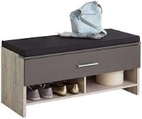 RRP £100. Boxed Fmd Alan 4 Hoskin Shoe Bench - Sand Oak / Lava