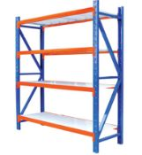 NEW PACKAGED 2M X 2M X 600MM DEEP 4 SHELF 1.2 TONNE SET OF INDUSTRIAL RACKING