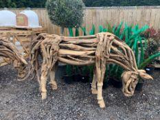 EXCEPTIONAL LIFESIZE HEAVY TEAK DRIFTWOOD HORSE