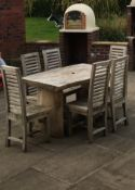 NEW 1.5M LONG SOLID SUAR WOOD LIVE EDGE OUTDOOR HEAVY DUTY TABLE AND 6 CHAIRS