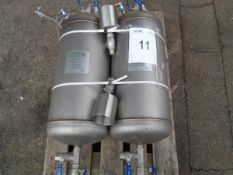 2 x Fabricated Products 40ltrs chemical dosing pots 25 bar max working pressure