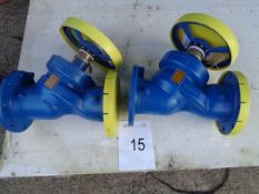 2 x Hattersley model MH733 PN16 BS7350 120C max temp flow control valve 150 mm
