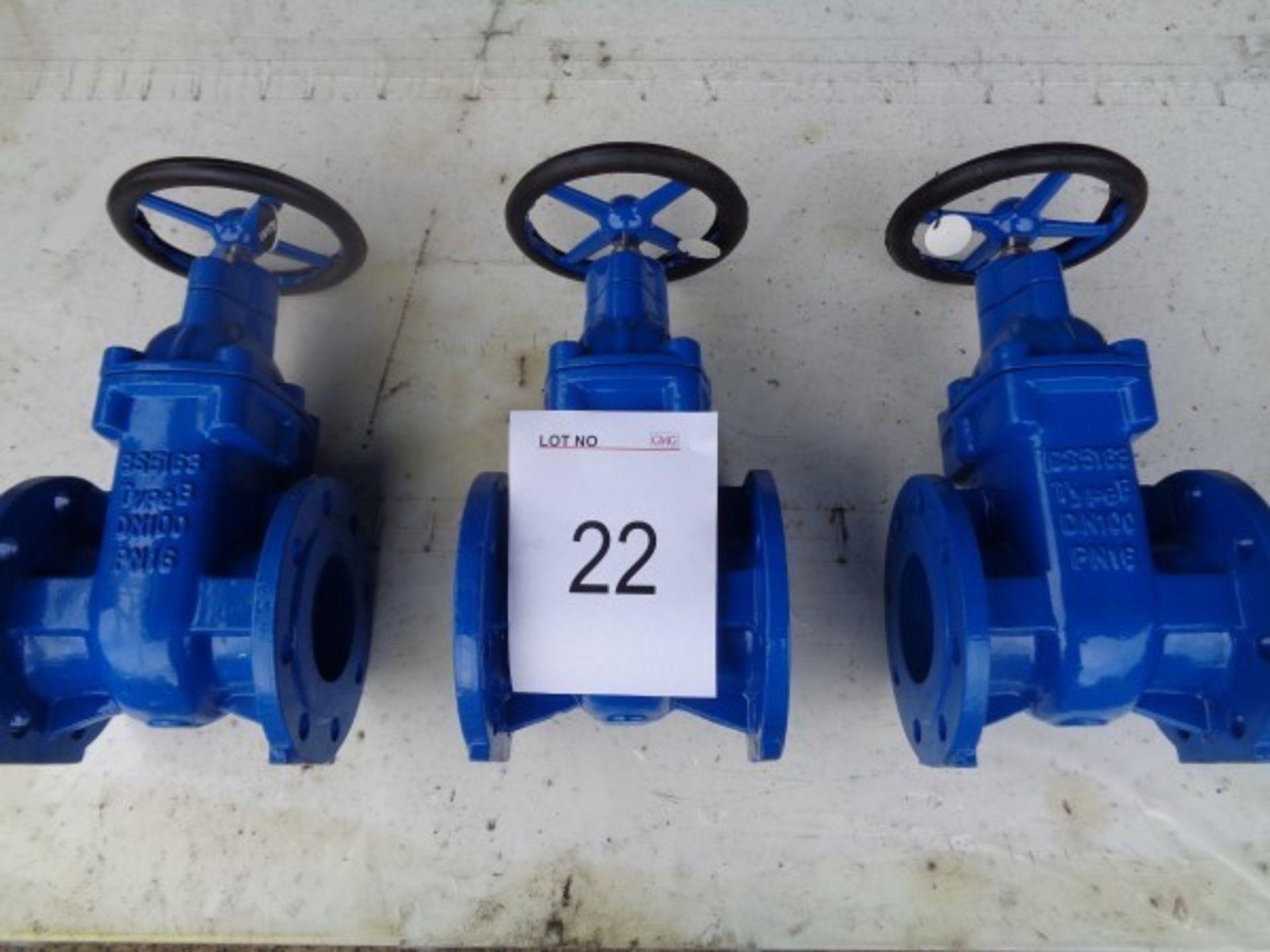 3 x BS5163 type B DN100 PN16 gate valves