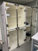 Two Geeling Ltd. Bank of 6 feline recovery cages, 1st bank with internal sizes 870mm x 760mm x 580mm
