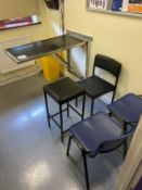 Wall mounted stainless steel examination table 1030mm x 510mm, 3 chairs and 1 stool (P.C & monitor