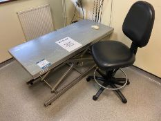 J Tool stainless steel electric scissor lift examination table size 1.36m x 600mm , 4 chairs and 1 x