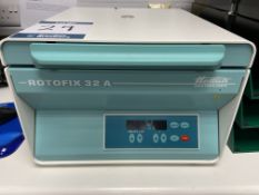 Hettich Rotofix 32A Benchtop centrifuge, Max Speed 6000 R.P.M 240 volts, S/No. 0228506-03 (2016) -
