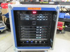 Shure Axiant Digital Radio Rack. To include 5 x AD4D 2 channel digital receivers (470.636 MHz), 4
