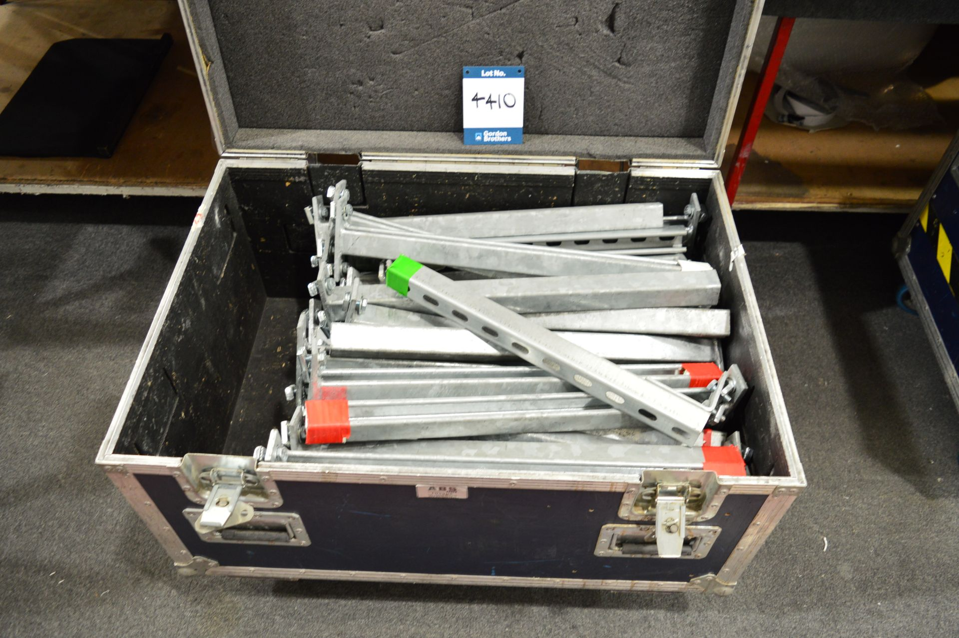 Lot 4410 - Quantity of steel cable brackets in flight case: Unit 500, Eckersall Road, Birmingham B38 8SE
