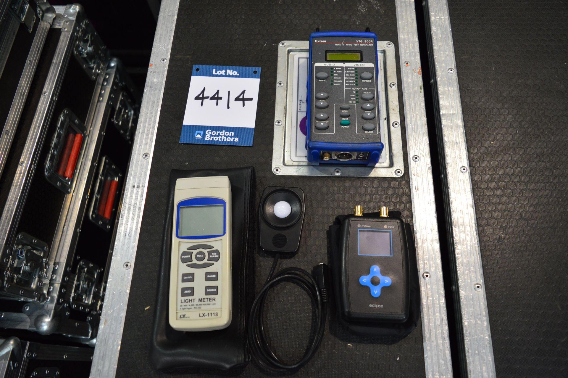 Lot 4414 - 1x Extron VTG 300R video & audio test generator, 1x Lutron LX-1118 light meter and 1x Eclipse test