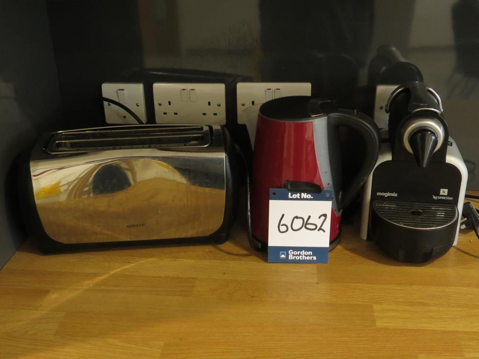 Lot 6062 - Kenwood toaster, Russell Hobbs kettle and Nespress