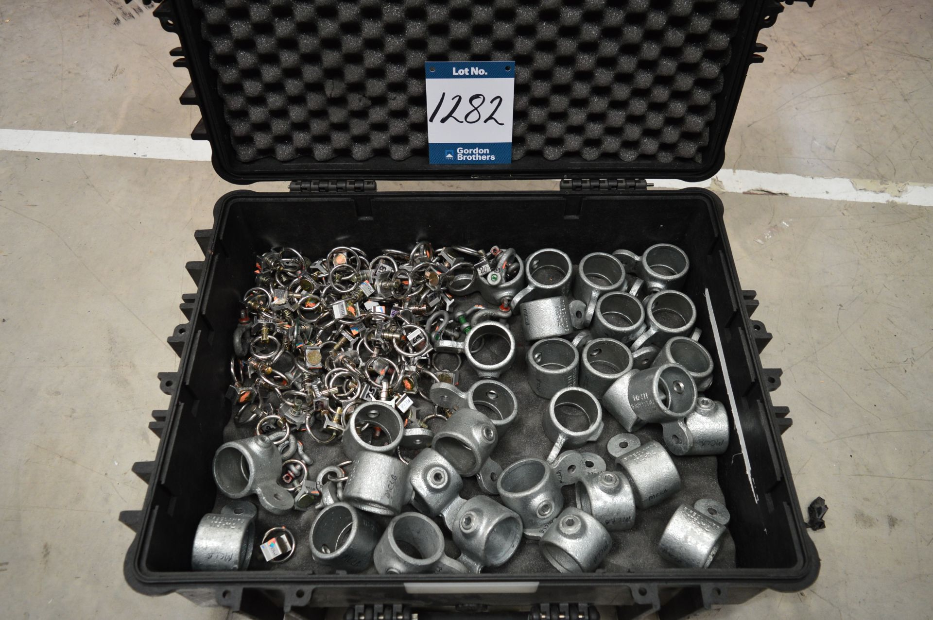 Lot 1282 - Aeroquip, barrel hanging pipe clamps and fittings