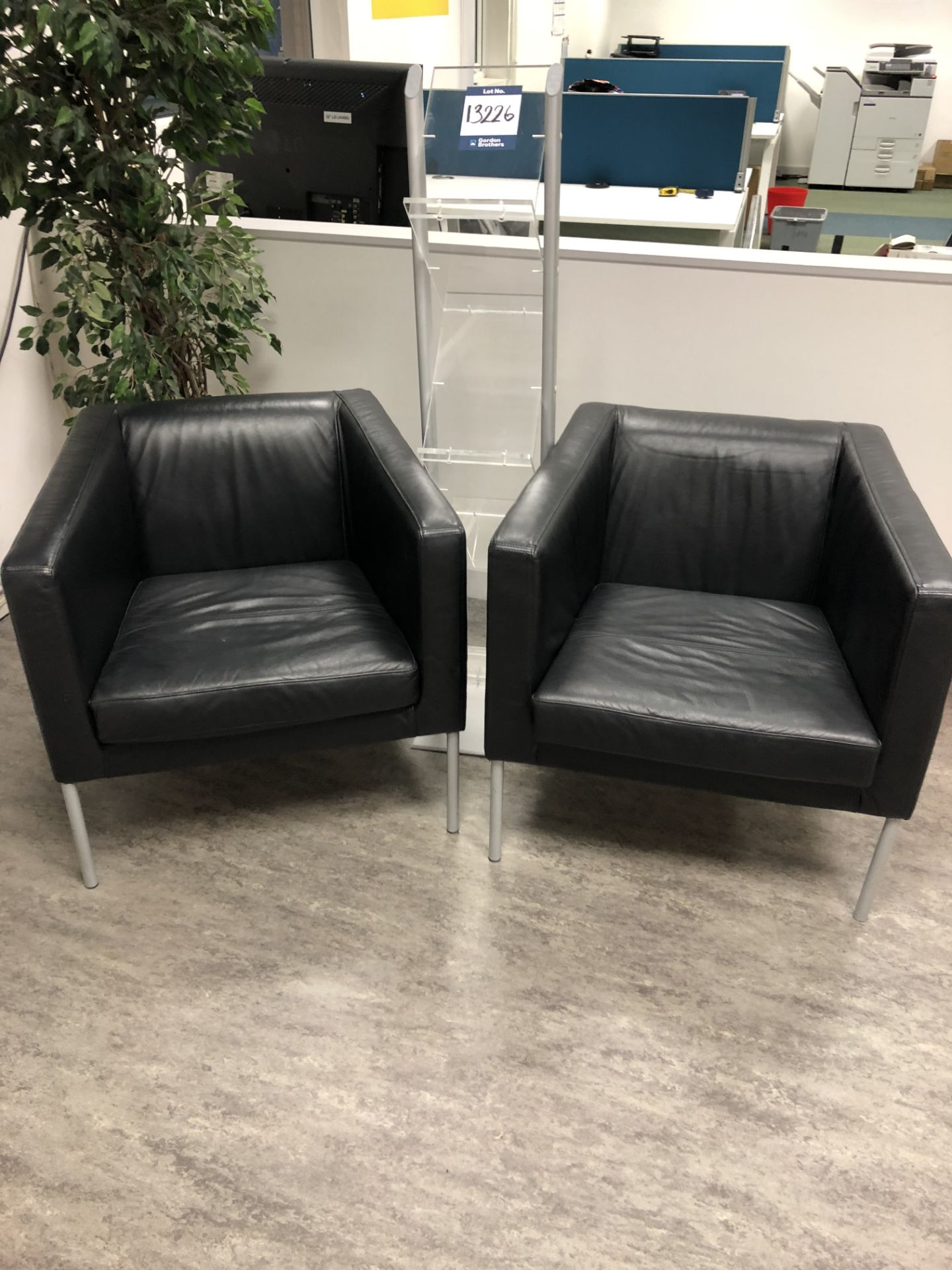 2x No. leather cloth upholstered reception chairs