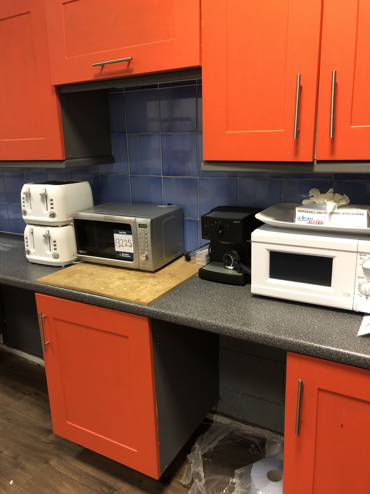 Lot 13225 - 2x No. microwave ovens, 2x toasters and Krups, cof