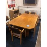 Wood framed table, 1970 x 1240mm and 8x No. leathe