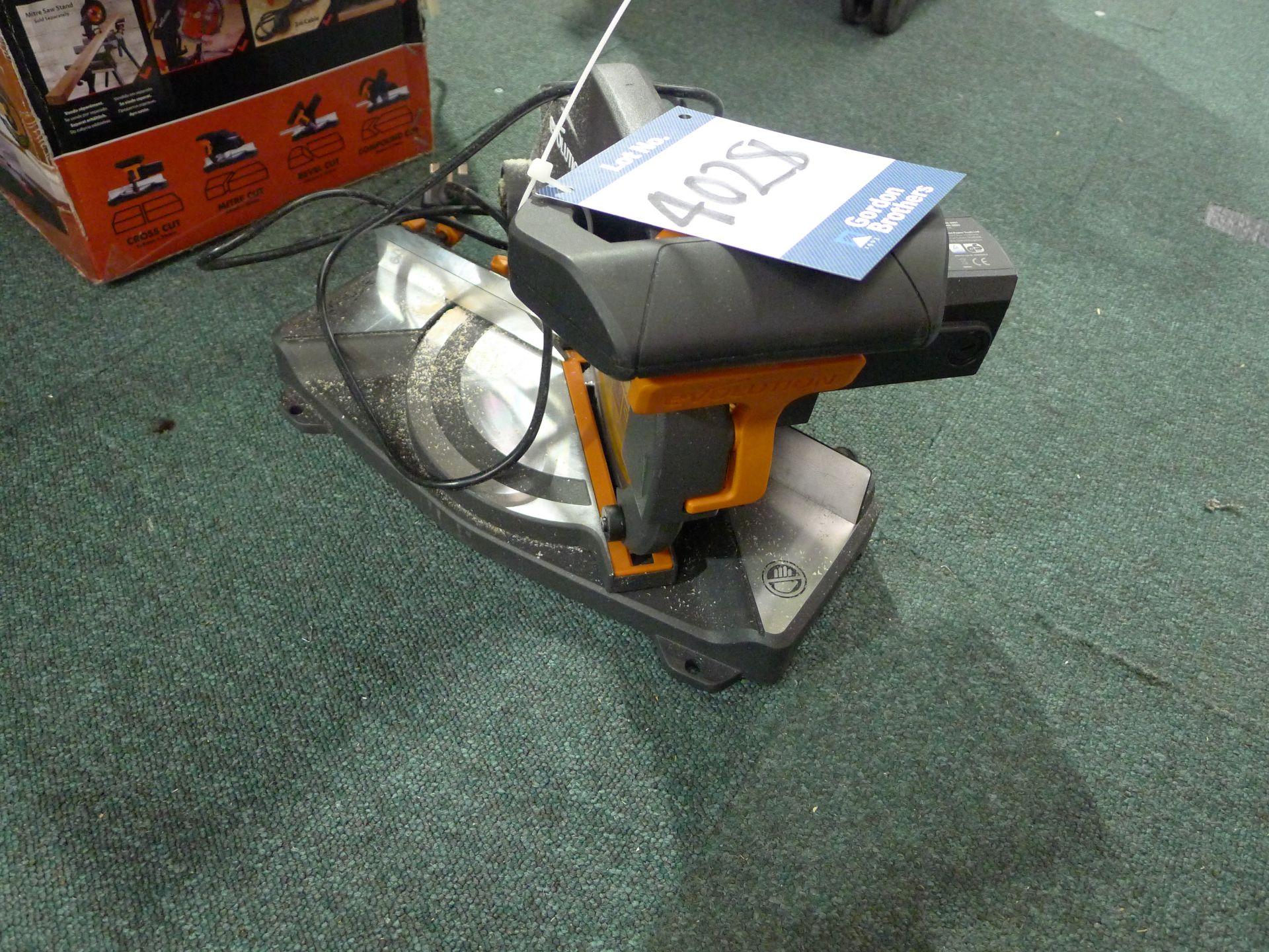 Lot 4028 - Evolution R210 240V Compound Mitre Saw: Unit 500,