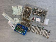 Miscellaneous instruments comprising: scissors, forceps, clamps, 15x No. battery handles (majority