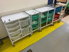 Five various steel framed wheeled consumable trollies; 2x No. twin and 3x No. single