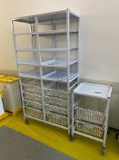 Two wheeled storage trollies; 1x No. single and 1x No. double with eight wire mesh drawers and eight