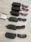 Six pairs of protective eyewear with cases