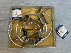 Sterilisation tray with contents of surgical instruments including retractors and centre blades