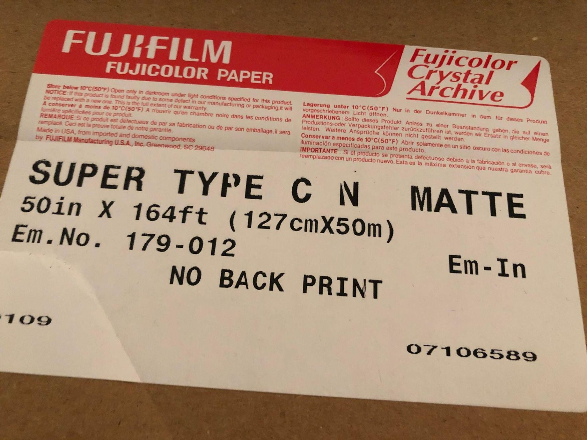 "Lot 30 - (3) Full Rolls 50"" Fuji LightJet Paper"